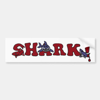 Funny Shark Letters with Sharks Art Bumper Sticker