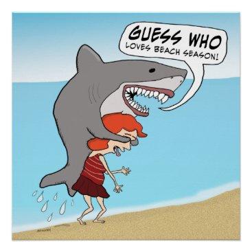 Beach Themed Funny Shark Loves Beach Season Poster