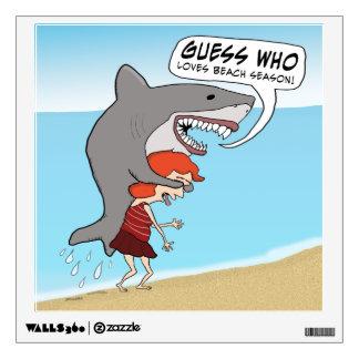 Funny Shark Loves Beach Season Wall Sticker
