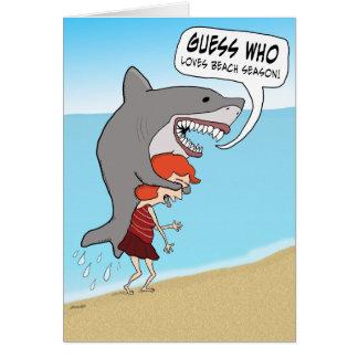 Funny Shark on Beach Birthday Card