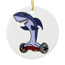Funny Shark on Red Hoverboard Ceramic Ornament