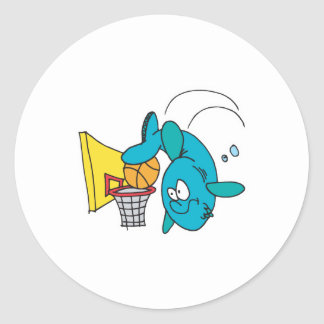 funny shark playing basketball classic round sticker