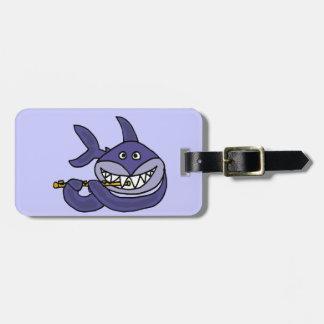 Funny Shark Playing Flute Cartoon Bag Tag