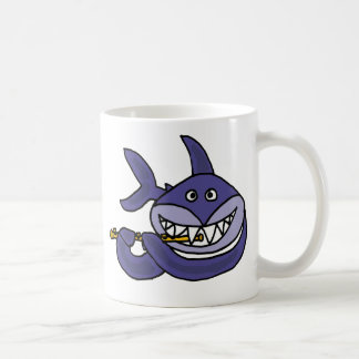 Funny Shark Playing Flute Cartoon Coffee Mug