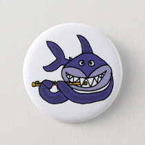 Funny Shark Playing Flute Cartoon Pinback Button