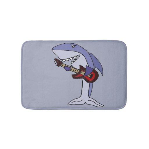 Funny Shark Playing Red Guitar Bathroom Mat