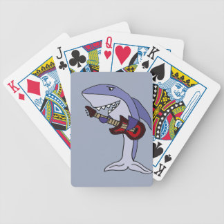Funny Shark Playing Red Guitar Bicycle Playing Cards