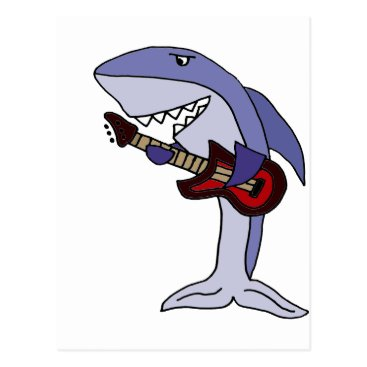 Beach Themed Funny Shark Playing Red Guitar Postcard