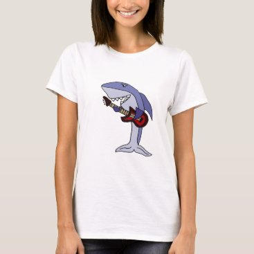 Beach Themed Funny Shark Playing Red Guitar T-Shirt
