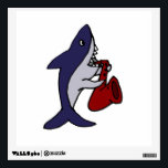 """Funny Shark Playing Saxophone Wall Decal<br><div class=""""desc"""">Wonderful funny shark playing a red saxophone original art design makes a fun unique gift.  Can also add custom text and change background color when ordering.</div>"""