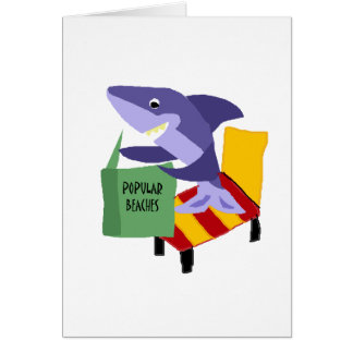 Funny Shark Reading Book about Popular Beaches Card