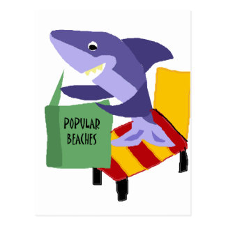 Funny Shark Reading Book about Popular Beaches Postcard