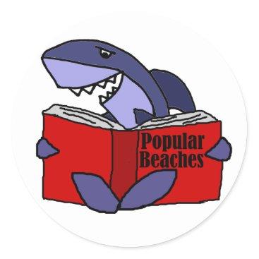 Beach Themed Funny Shark Reading Popular Beaches Book Classic Round Sticker