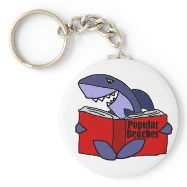 Beach Themed Funny Shark Reading Popular Beaches Book Keychain