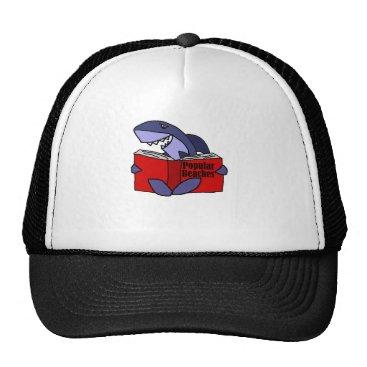 Beach Themed Funny Shark Reading Popular Beaches Book Trucker Hat