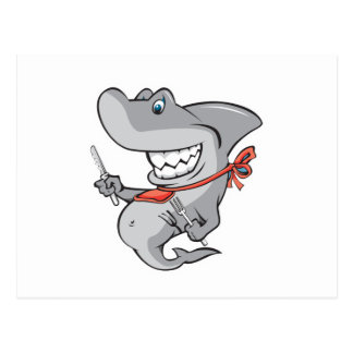 funny shark ready to eat postcard