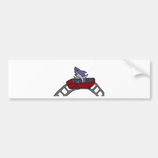 Funny Shark Riding Red Roller Coaster Bumper Sticker