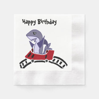 Funny Shark Riding Roller Coaster Coined Cocktail Napkin