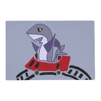 Funny Shark Riding Roller Coaster Placemat