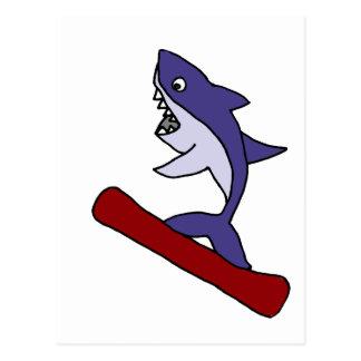 Funny Shark Snowboarding Cartoon Postcard