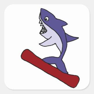Funny Shark Snowboarding Cartoon Square Sticker