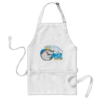 Funny shark surf shop scuba shop ocean wave adult apron