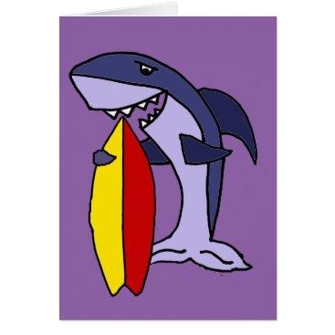 Beach Themed Funny Shark Surfer Dude Cartoon Card