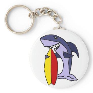 Beach Themed Funny Shark Surfer Dude Cartoon Keychain
