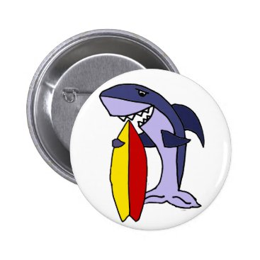 Beach Themed Funny Shark Surfer Dude Cartoon Pinback Button