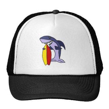 Beach Themed Funny Shark Surfer Dude Cartoon Trucker Hat