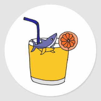 Funny Shark Swimming in Orange Juice Classic Round Sticker