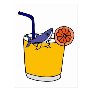 Funny Shark Swimming in Orange Juice Postcard