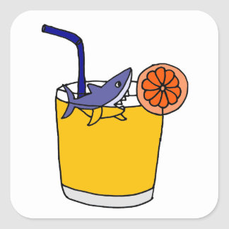 Funny Shark Swimming in Orange Juice Stickers