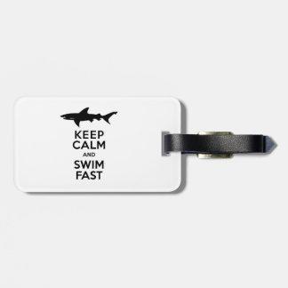 Funny Shark Warning - Keep Calm and Swim Fast Bag Tag