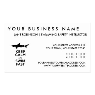 Funny Shark Warning - Keep Calm and Swim Fast Business Card