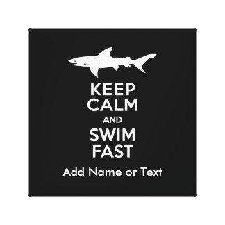 Funny Shark Warning - Keep Calm and Swim Fast Canvas Print