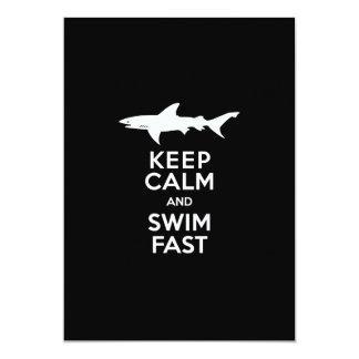 Funny Shark Warning - Keep Calm and Swim Fast Card