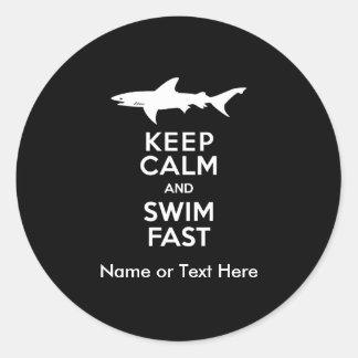 Funny Shark Warning - Keep Calm and Swim Fast Classic Round Sticker
