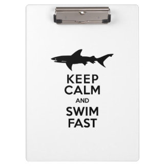 Funny Shark Warning - Keep Calm and Swim Fast Clipboard