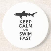 Funny Shark Warning - Keep Calm and Swim Fast Coaster