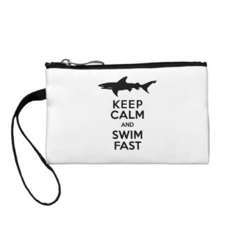 Funny Shark Warning - Keep Calm and Swim Fast Coin Wallet