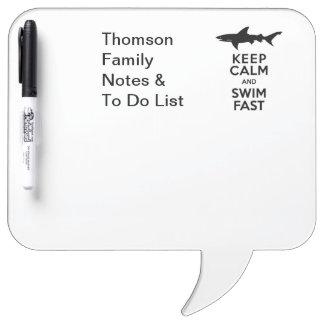 Funny Shark Warning - Keep Calm and Swim Fast Dry-Erase Board