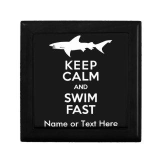 Funny Shark Warning - Keep Calm and Swim Fast Keepsake Box
