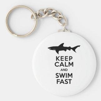 Funny Shark Warning - Keep Calm and Swim Fast Keychain