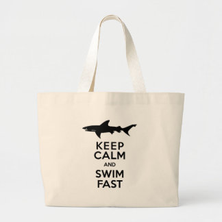 Funny Shark Warning - Keep Calm and Swim Fast Large Tote Bag