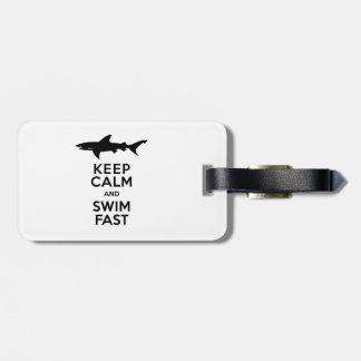 Funny Shark Warning - Keep Calm and Swim Fast Tag For Luggage