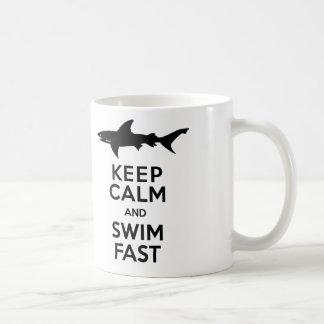 Funny Shark Warning - Keep Calm and Swim Fast Coffee Mug