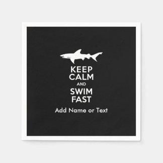Funny Shark Warning - Keep Calm and Swim Fast Napkin