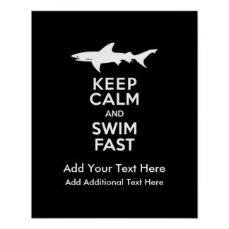 Funny Shark Warning - Keep Calm and Swim Fast Poster