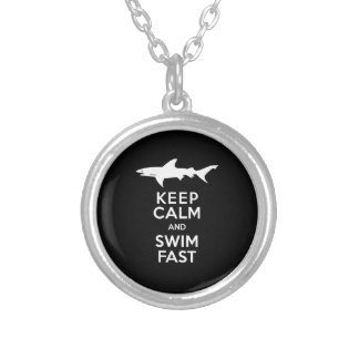 Funny Shark Warning - Keep Calm and Swim Fast Silver Plated Necklace